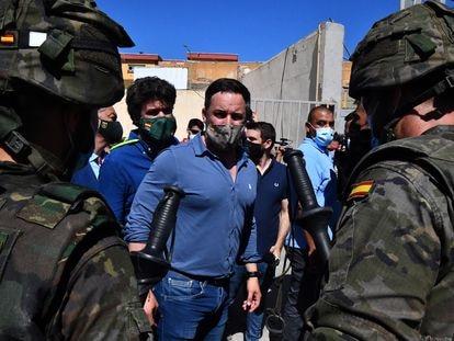 El líder de Vox, Santiago Abascal, durante su visita a Ceuta el pasado día 19 de mayo.