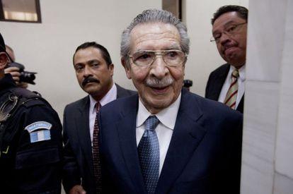 El exdictador Efraín Ríos Montt, en una de las vistas previas del juicio, en Ciudad de Guatemala el pasado 24 de enero.