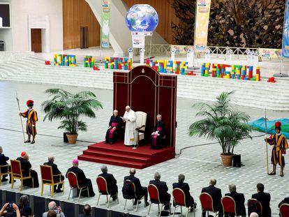 El Papa Francisco en la celebración del 50 aniversario de la fundación de Cáritas en Italia.