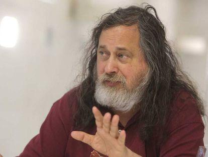 Richard Stallman, padre del software libre, este miércoles durante la entrevista en San Sebastián.