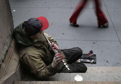 El número de indigentes en las calles de Nueva York ha crecido durante la crisis.