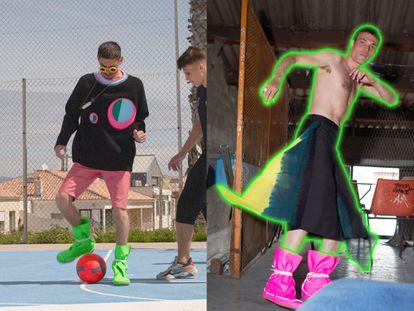 Dos imágenes de David Sims pertenecientes a la presentación de la colección primavera/verano 2022 para hombre de Loewe.