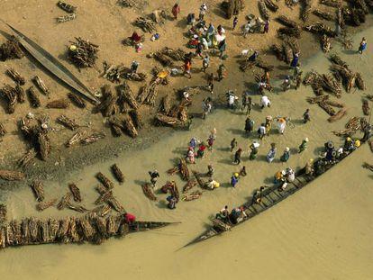 Transporte en piraguas de haces de leña a través del río Bani en Djenné, Mali.