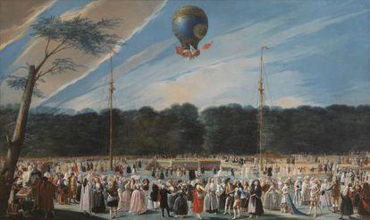 Ascensión de un globo Montgolfier en Aranjuez (1784), de Antonio Carnicero Mancio. El Museo del Prado.