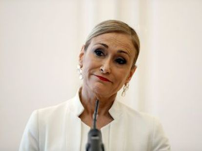 La expresidenta madrileña ha comparecido esta tarde como imputada ante la magistrada que investiga su título en la Universidad Rey Juan Carlos
