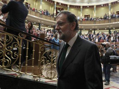 Mariano Rajoy, en el Pleno del Congreso que votó la moción de censura en su contra.