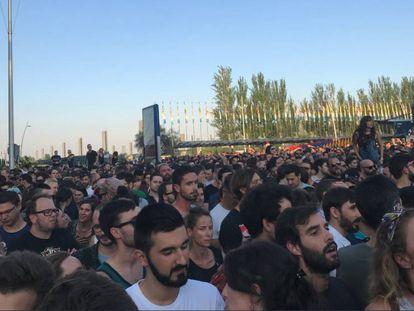 Aglomeraciones a la entrada del Mad Cool Festival de Madrid, en 2018.