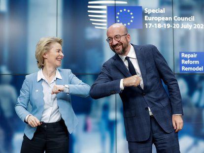 La presidenta de la Comisión Europea, Ursula Von Der Leyen y el presidente del Consejo Europeo, Charles Michel.