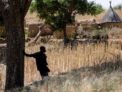 Un vecino de Machichia (Camerún) observa las casas del pueblo desde la lejanía.