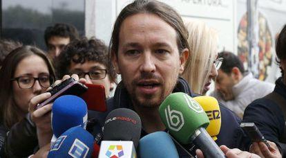 Pablo Iglesias, este sábado antes del Consejo Ciudadano de Podemos.