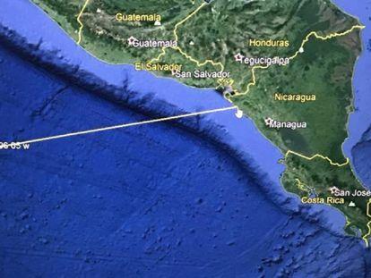Mapa facilitado por Estados Unidos de la posible trayectoria del tsunami.