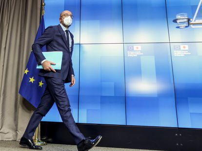El presidente del Consejo Europeo, Charles Michel, en la sede de la institución en Bruselas el 27 de mayo de 2021.