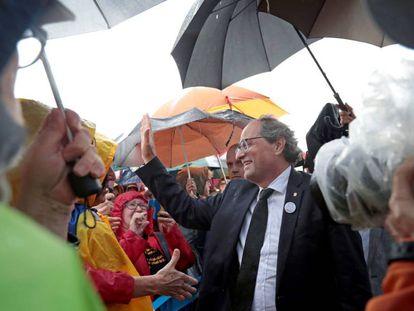 El presidente de la Generalitat, Quim Torra, en el acto de la prisión de Lledoners del pasado viernes