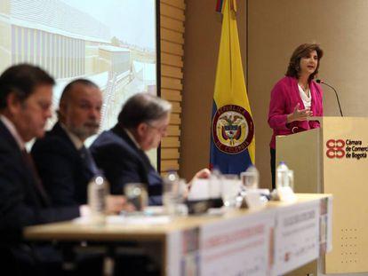 La canciller de Colombia, María Ángela Holguín, en la inauguración del III Congreso de editores de medios Celac-UE.