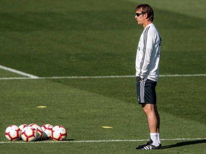 Julen Lopetegui, durante el último entrenamiento del Real Madrid en Valdebebas.