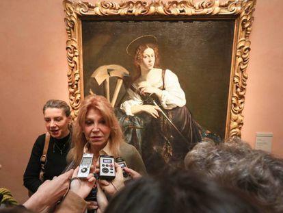 Carmen Cervera en la presentación de la obra de Caravaggio 'Santa Catalina de Alejandría' en el Museo Thyssen- Bornemisza.