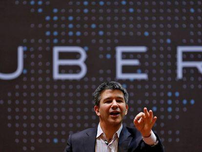Travis Kalanick, cofundador y consejero delegado de Uber, durante una ponencia en India.