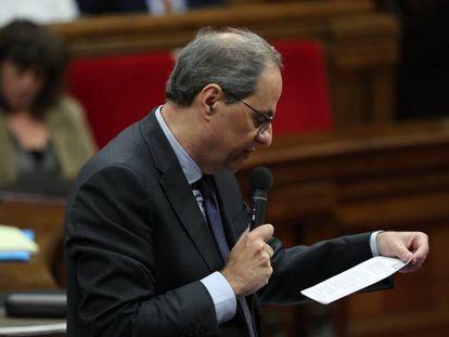 El presidente catalán, Quim Torra, en la sesión de control del Parlament.