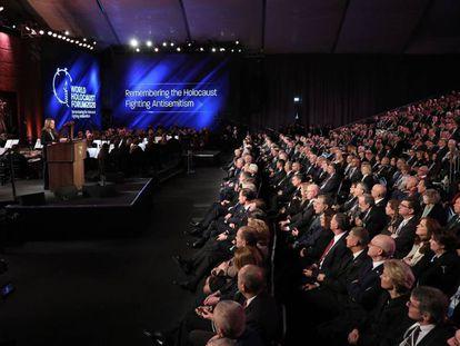 Reuven Rivlin se dirige a los líderes mundiales congregados en el foro del Holocausto, este jueves en Jerusalén.