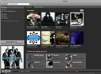 Pantallazo de Spotify, la radio <i>online</i>.