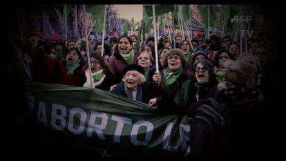 Manifestación en Buenos Aires a favor de la legalización del aborto.