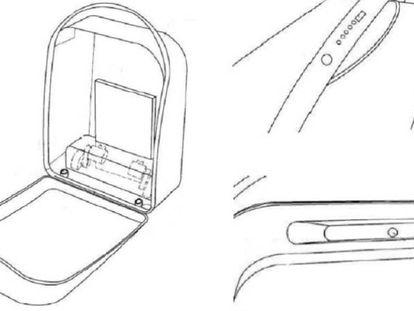 Boceto de la patente 'maleta autónoma' de Pablo Vidal.