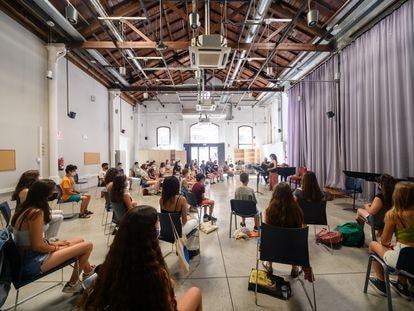 Un ensayo del coro infantil del Orfeó Català en las nuevas instalaciones del Espai Palau.