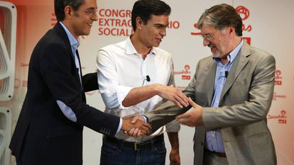 Debate en 2014 de los aspirantes a liderar el PSOE: Eduardo Madina, Pedro Sánchez y José Antonio Pérez Tapias.