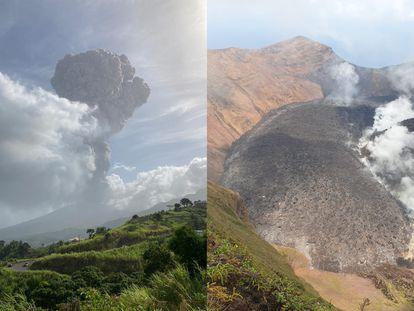 Actividad del volcán La Soufrière en San Vicente y las Granadinas, en imágenes obtenidas por el Centro de Investigación Sísmica de la Universidad de las Indias Occidentales.