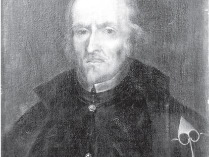 Fotografía del retrato de Calderón de la Barca de la iglesia de San Pedro de los Naturales, de 1893.