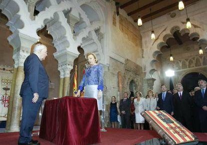 La popular Luisa Fernanda Rudi, durante su toma de posesión como presidenta de Aragón, esta tarde en Zaragoza