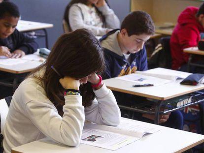 Alumnos de primaria en un colegio de Madrid.