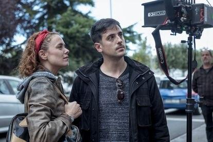 Patricia López Arnáiz y Daniel Pérez Sañudo, en el rodaje de 'Ane'.
