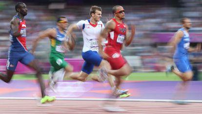 Lemaitre, durante la semifinal de 200m