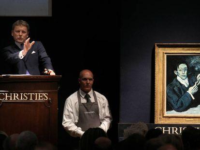 Subasta en Christie's del cuadro de Pablo Picasso 'Retrato de Ángel Fernández de Soto' (el bebedor de absenta)'.