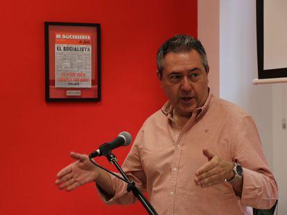 Juan Espadas, en un acto de precampaña en Linares (Jaén).