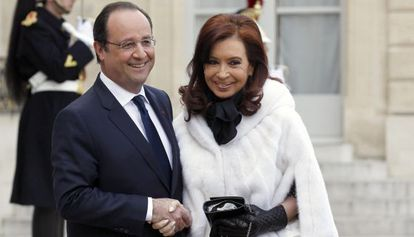 François Hollande y Cristina Fernández en el Palacio del Elíseo