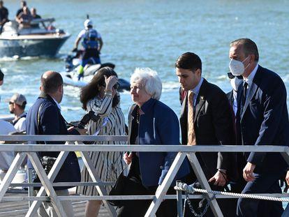 La secretaria del Tesoro de EE UU, Janet Yellen, a su llegada a Venecia para la reunión del G-20.