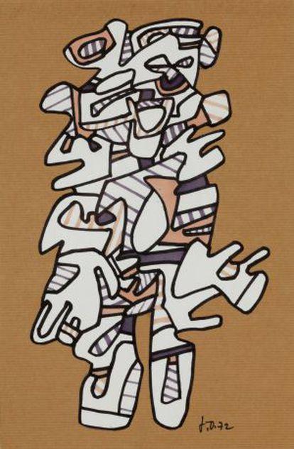 'Personnage', de 1972. Rotulador y collage sobre papel.