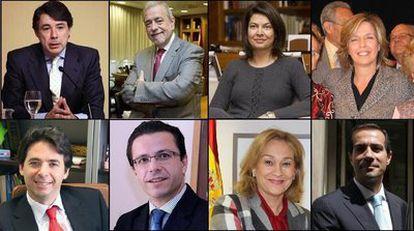 Los ocho consejeros del nuevo Gobierno de Aguirre.