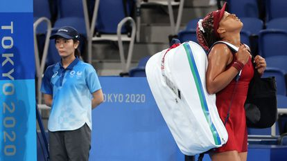 La tenista japonesa Naomi Osaka, tras caer eliminada ante la rusa Vondrousova, este miércoles.