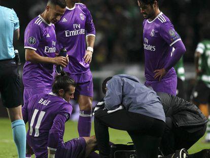 Bale tras lesionarse ante el Sporting.