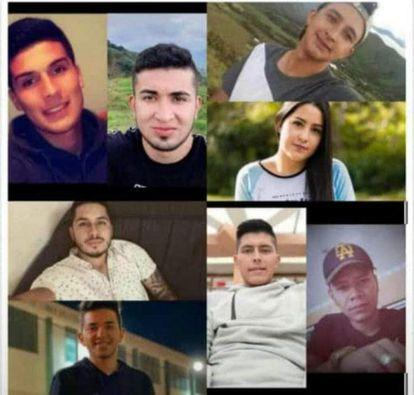 Algunos de los jóvenes asesinados en Samaniego (Nariño), al sur de Colombia. Imagen publicada por la Gobernación de Nariño.