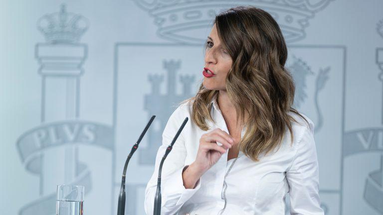 La ministra de Trabajo, Yolanda Díaz, en rueda de prensa el pasado 8 de mayo.