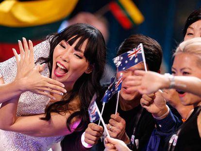 La representante de Australia, Dami Im, durante las votaciones.