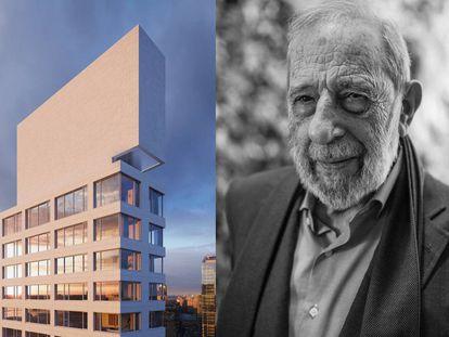 A la izquierda, corona del rascacielos de Álvaro Siza en el 611 de la calle 56 de Nueva York. A la derecha, el arquitecto durante una conversación con el crítico de arquitectura Paul Goldberger. |