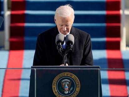 Joe Biden, durante su discurso de toma de posesión, este miércoles en el Capitolio.