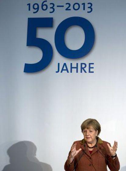 La canciller alemana Angela Merkel, en la celebración del 50 aniversario del consejo de expertos económicos