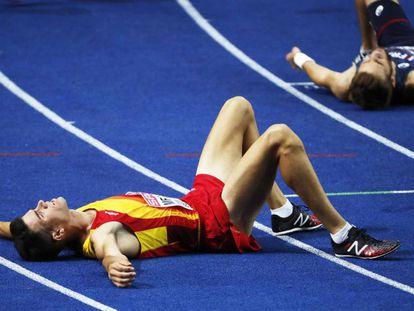 Adel Mechaal, después de terminar cuarto en la final de 10.000m.