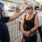 MADRID, SPAIN - JULY 07: A woman  has her temperature checked by a security guard at the entrance of Abre Madrid Festival 2020 at IFEMA on July 07, 2020 in Madrid, Spain. Abre Madrid Festival is an open air festival organized at IFEMA venue, with entertainment events that include concerts, monologues and many other activities. This is the first festival to be held in IFEMA since being used as an Emergency Hospital for coronavirus (COVID-19) patients. (Photo by Javier Bragado/Getty Images)